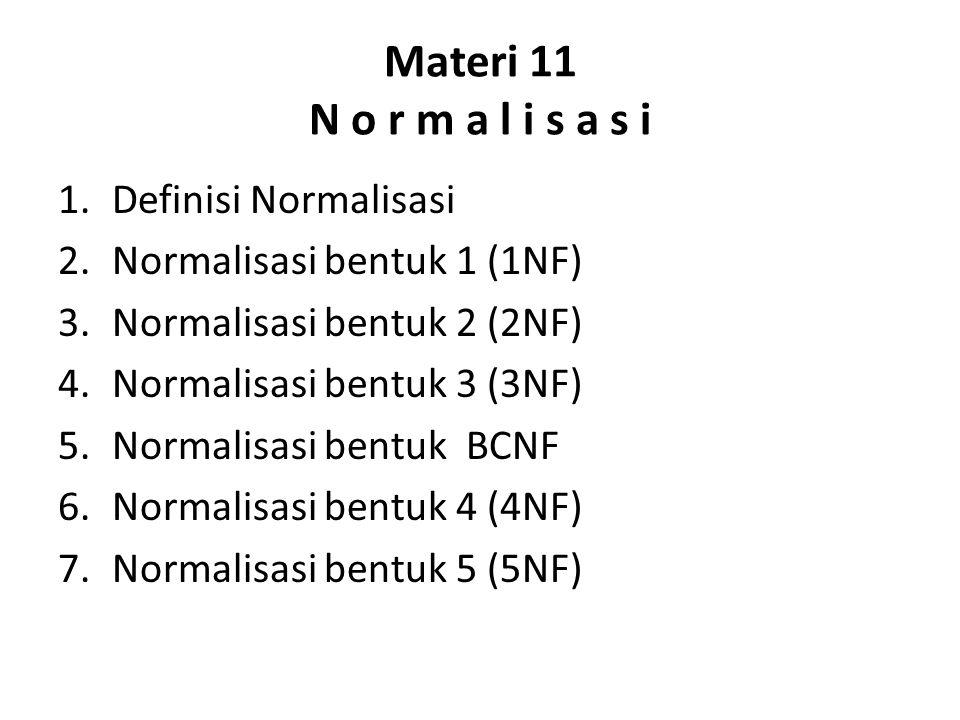 Materi 11 N o r m a l i s a s i Definisi Normalisasi