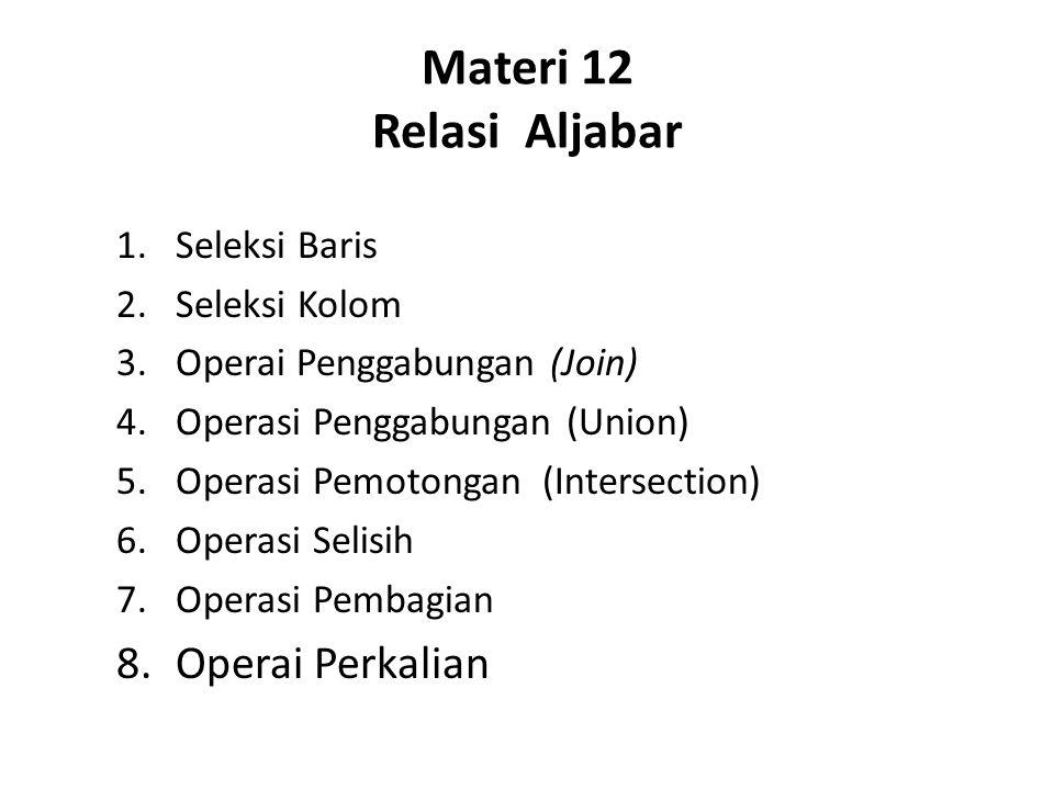 Materi 12 Relasi Aljabar Operai Perkalian Seleksi Baris Seleksi Kolom