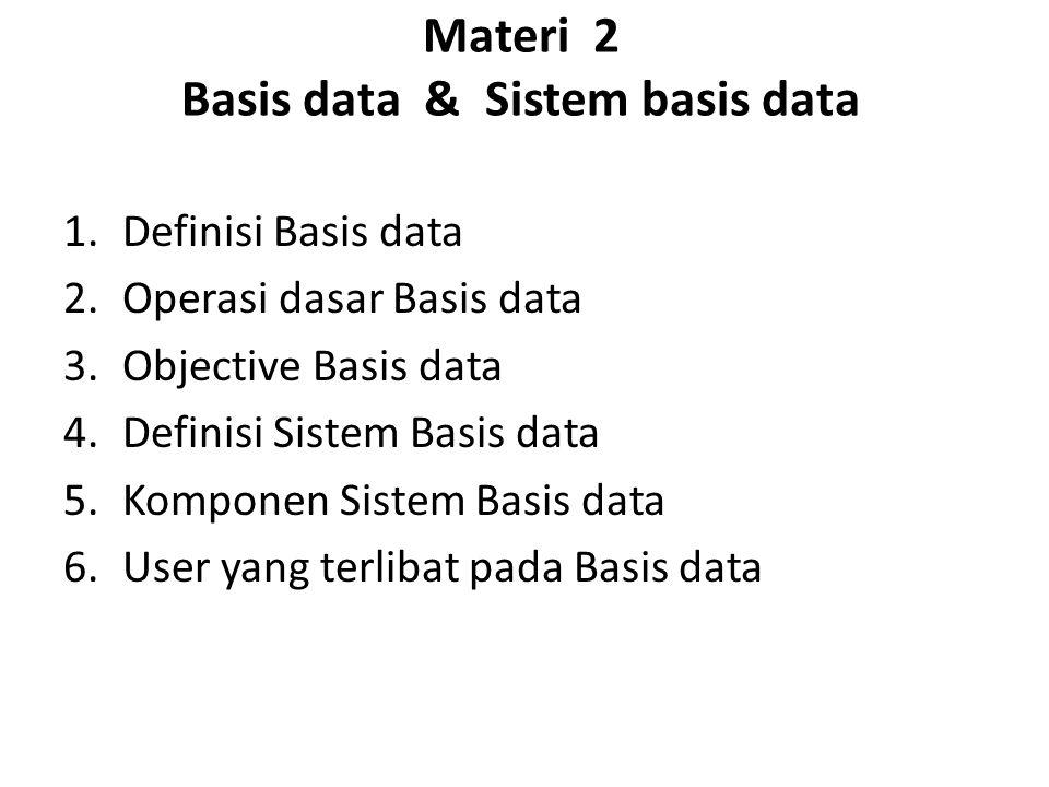Materi 2 Basis data & Sistem basis data