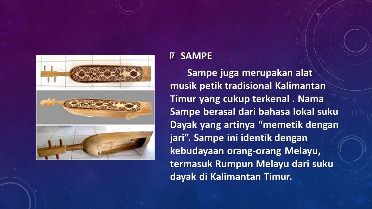  SAMPE Sampe juga merupakan alat musik petik tradisional Kalimantan Timur yang cukup terkenal .