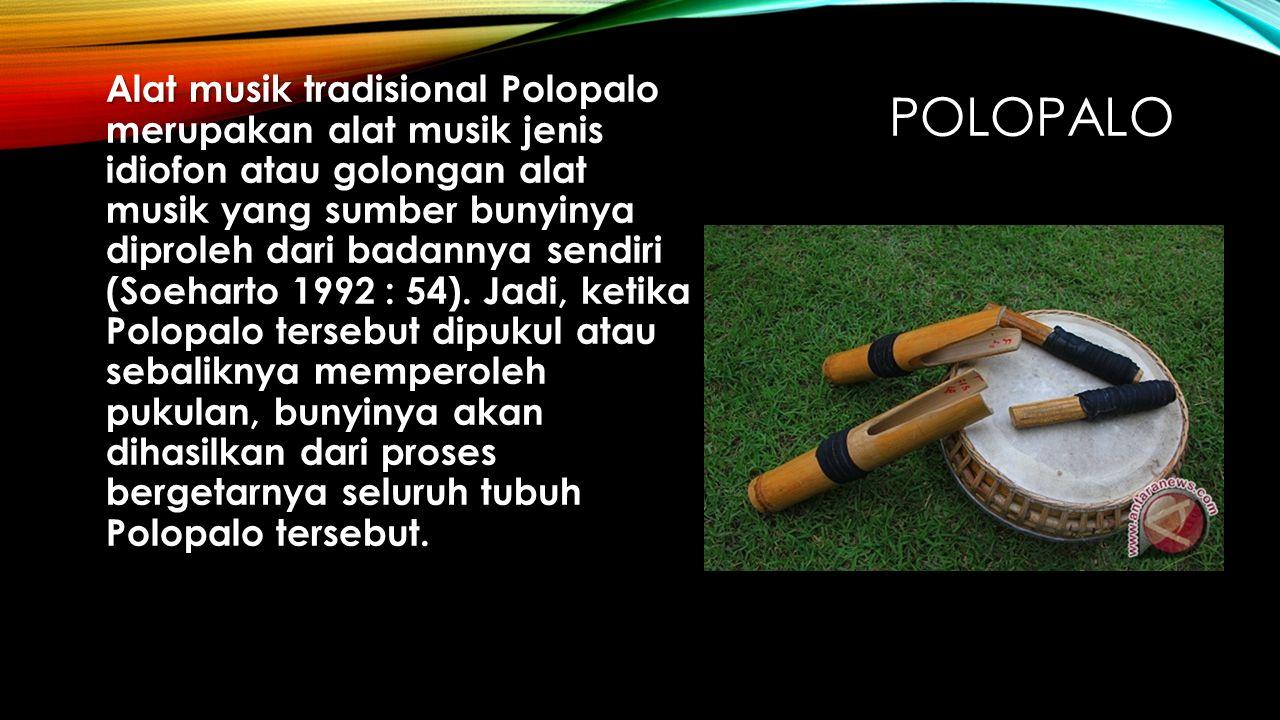 Alat musik tradisional Polopalo merupakan alat musik jenis idiofon atau golongan alat musik yang sumber bunyinya diproleh dari badannya sendiri (Soeharto 1992 : 54). Jadi, ketika Polopalo tersebut dipukul atau sebaliknya memperoleh pukulan, bunyinya akan dihasilkan dari proses bergetarnya seluruh tubuh Polopalo tersebut.