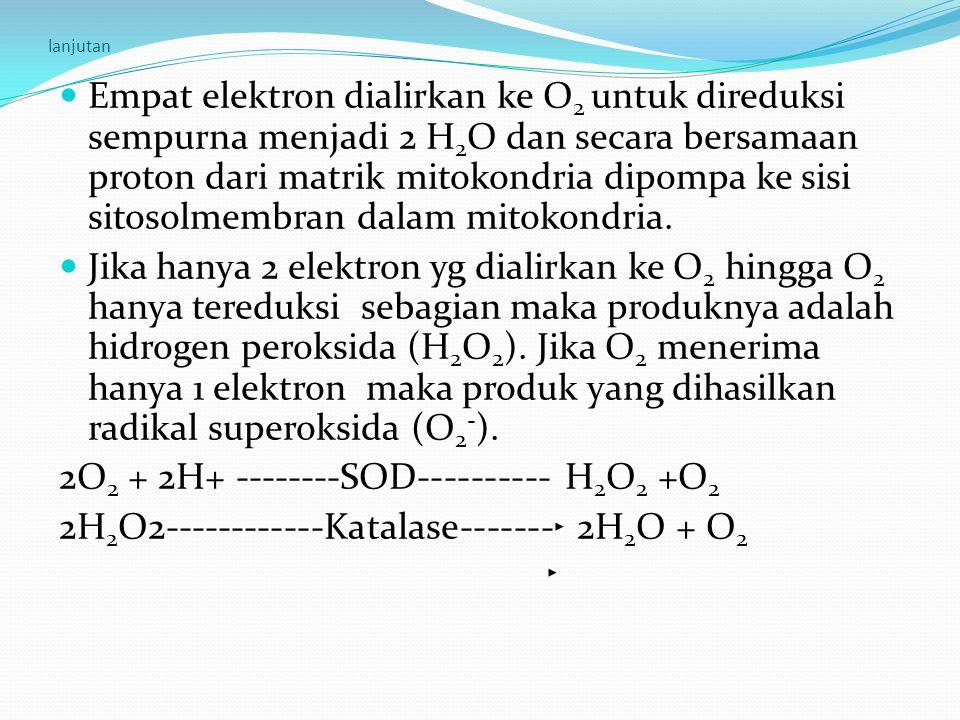 2O2 + 2H+ --------SOD---------- H2O2 +O2