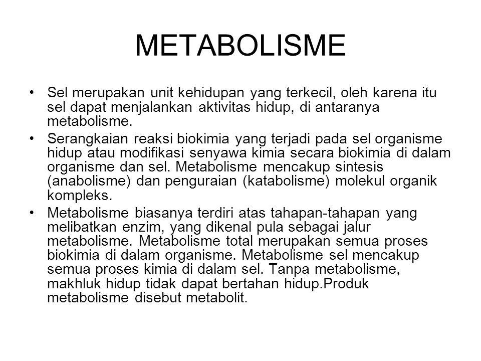 METABOLISME Sel merupakan unit kehidupan yang terkecil, oleh karena itu sel dapat menjalankan aktivitas hidup, di antaranya metabolisme.