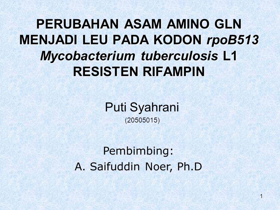 PERUBAHAN ASAM AMINO GLN MENJADI LEU PADA KODON rpoB513 Mycobacterium tuberculosis L1 RESISTEN RIFAMPIN