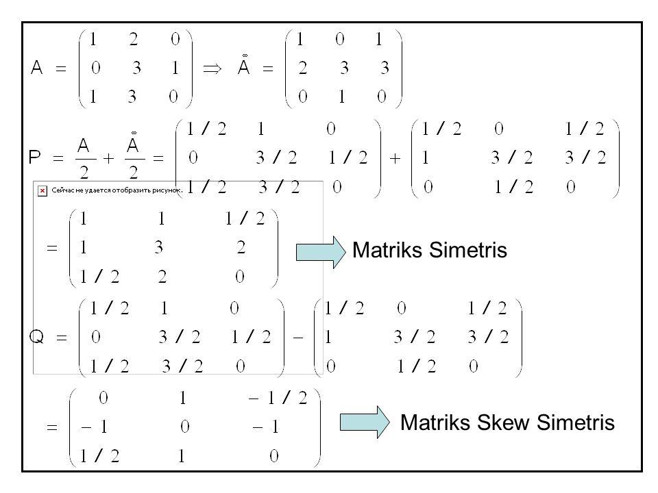 Matriks Simetris Matriks Skew Simetris