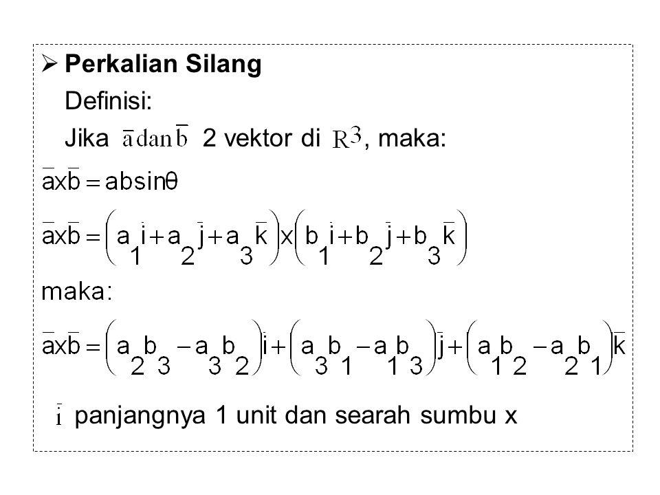 Perkalian Silang Definisi: Jika 2 vektor di , maka: panjangnya 1 unit dan searah sumbu x.
