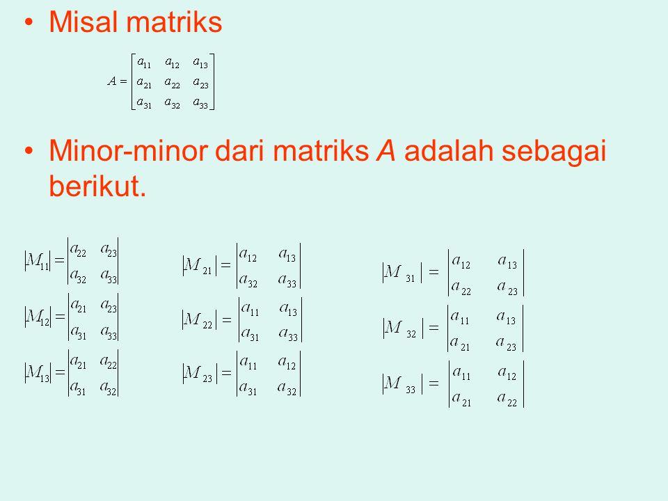 Misal matriks Minor-minor dari matriks A adalah sebagai berikut.