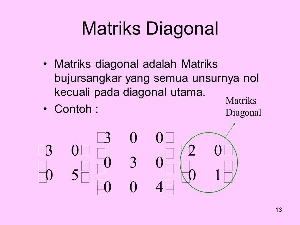 Matriks Diagonal ú û ù ê ë é 1 2 4 3 5