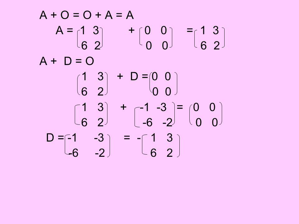 A + O = O + A = A A = 1 3 + 0 0 = 1 3. 6 2 0 0 6 2.