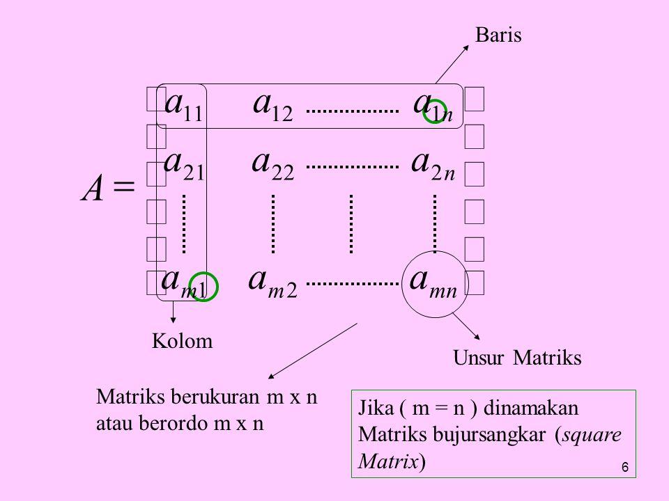 ú û ù ê ë é = a A mn m n 2 1 22 21 12 11 Baris Kolom Unsur Matriks