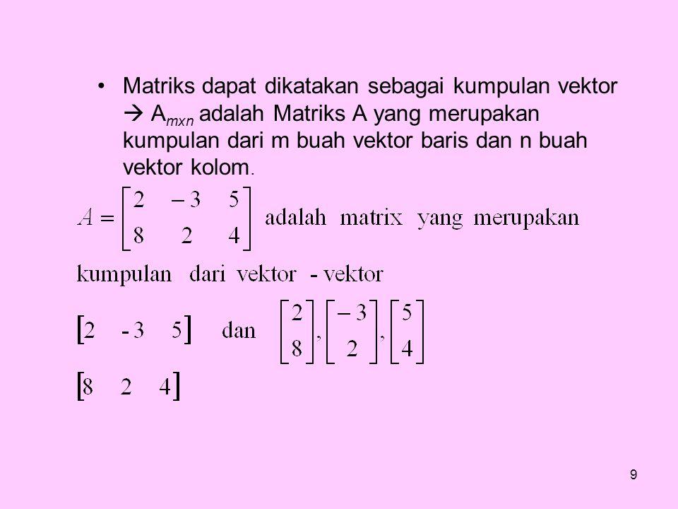 Matriks dapat dikatakan sebagai kumpulan vektor  Amxn adalah Matriks A yang merupakan kumpulan dari m buah vektor baris dan n buah vektor kolom.