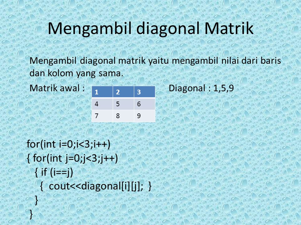 Mengambil diagonal Matrik