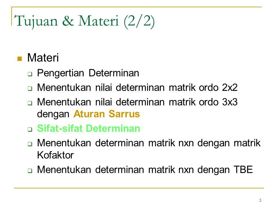 Tujuan & Materi (2/2) Materi Pengertian Determinan