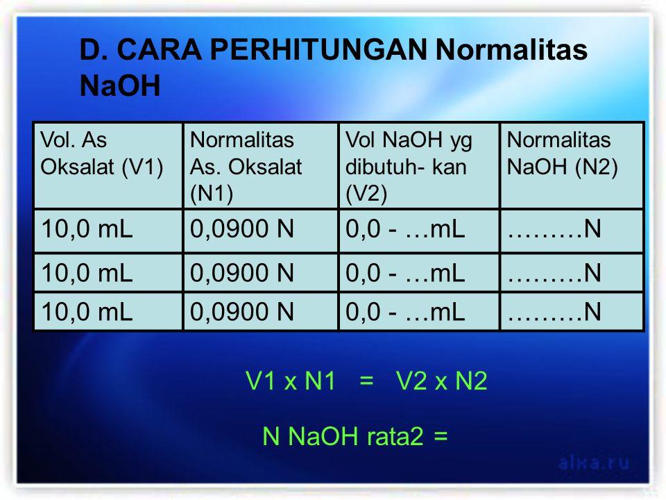 D. CARA PERHITUNGAN Normalitas NaOH