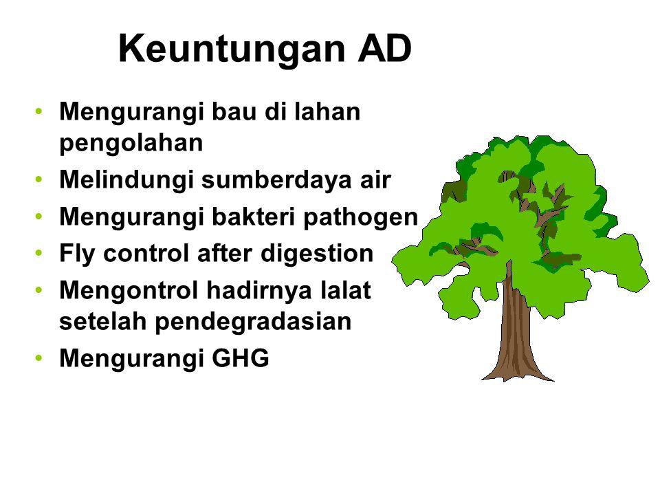 Keuntungan AD Mengurangi bau di lahan pengolahan