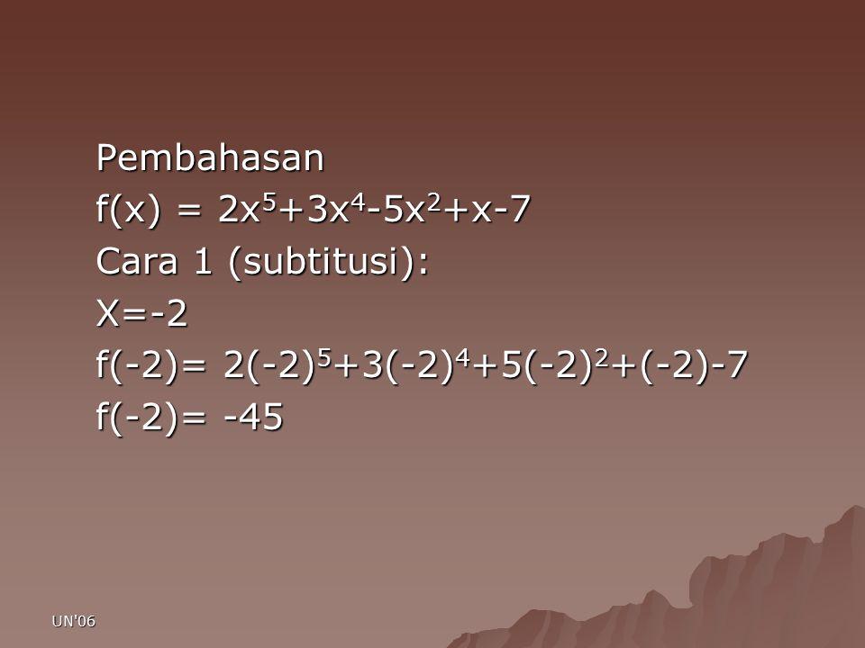 f(-2)= 2(-2)5+3(-2)4+5(-2)2+(-2)-7 f(-2)= -45