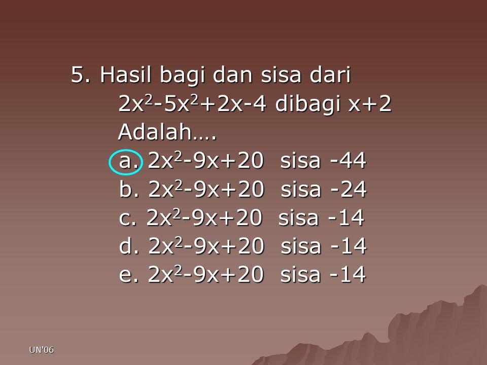 5. Hasil bagi dan sisa dari 2x2-5x2+2x-4 dibagi x+2 Adalah….