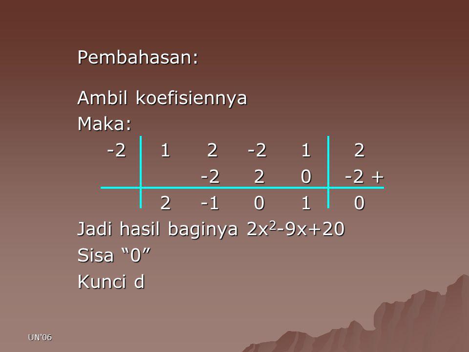 Jadi hasil baginya 2x2-9x+20 Sisa 0 Kunci d