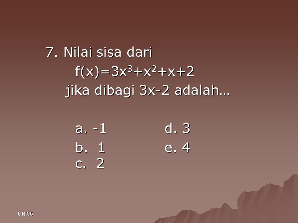 7. Nilai sisa dari f(x)=3x3+x2+x+2 jika dibagi 3x-2 adalah… a. -1 d. 3
