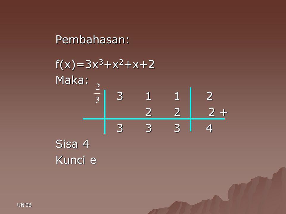 Pembahasan: f(x)=3x3+x2+x+2 Maka: 3 1 1 2 2 2 2 + 3 3 3 4 Sisa 4