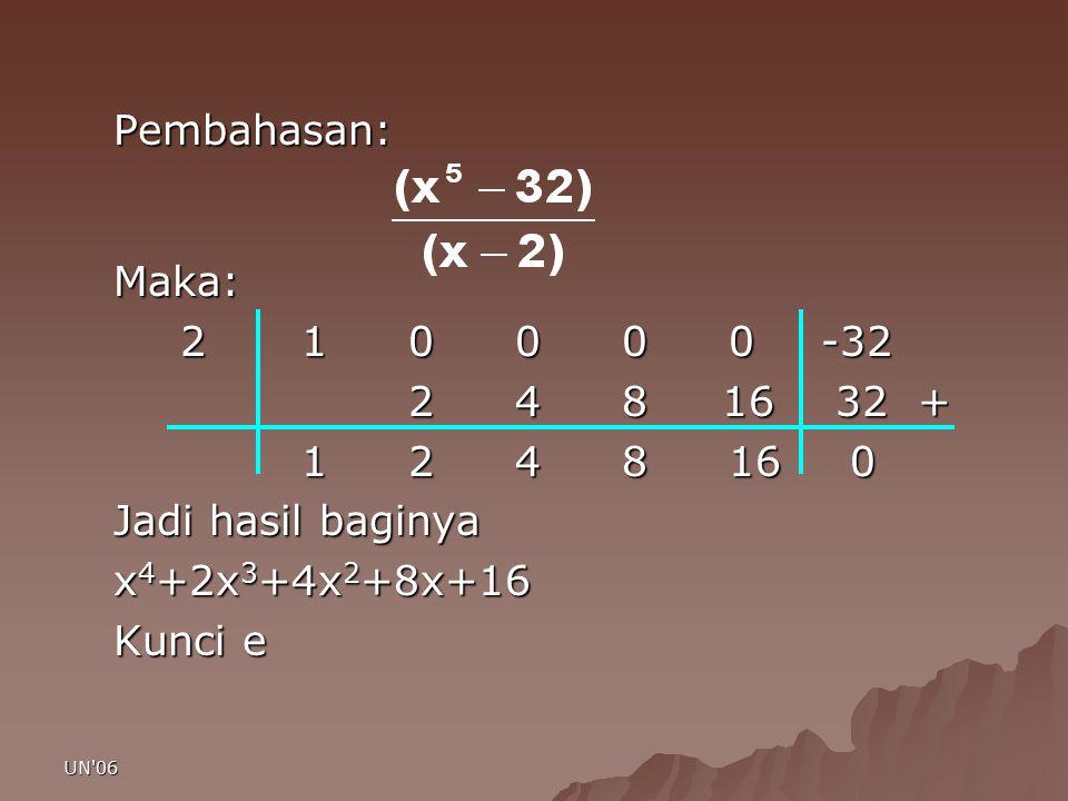 Pembahasan: Maka: 2 1 0 0 0 0 -32. 2 4 8 16 32 + 1 2 4 8 16 0. Jadi hasil baginya.