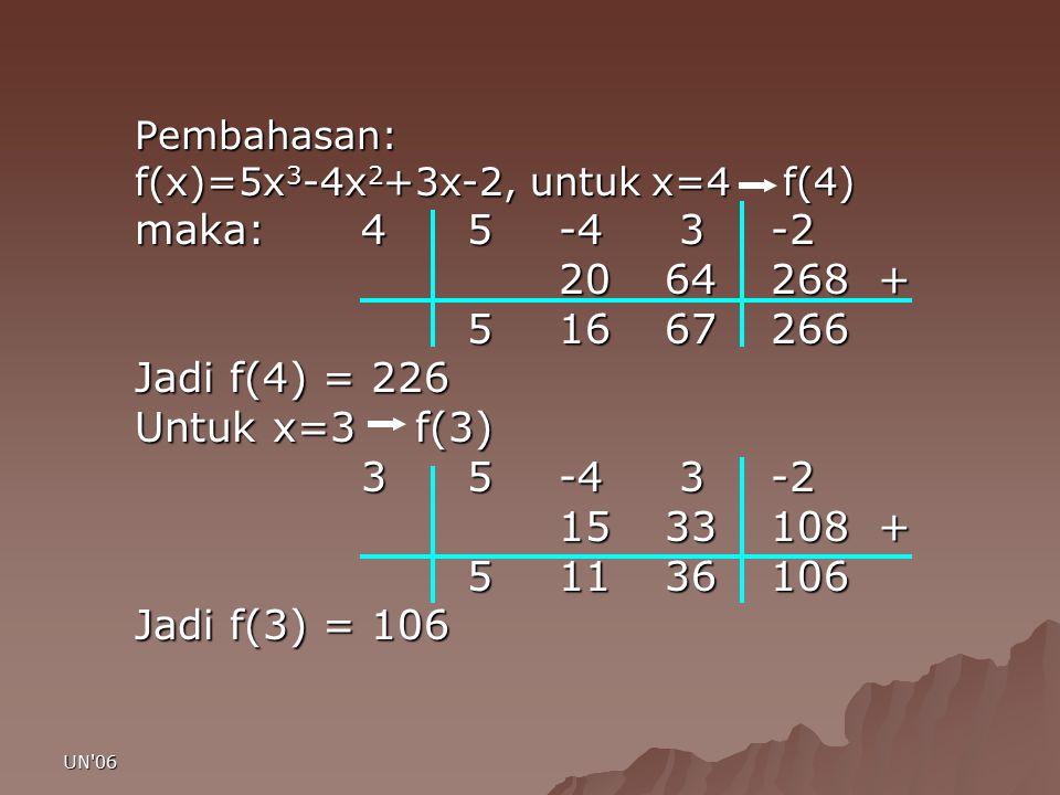 Pembahasan: f(x)=5x3-4x2+3x-2, untuk x=4 f(4) maka: 4 5 -4 3 -2. 20 64 268 + 5 16 67 266.