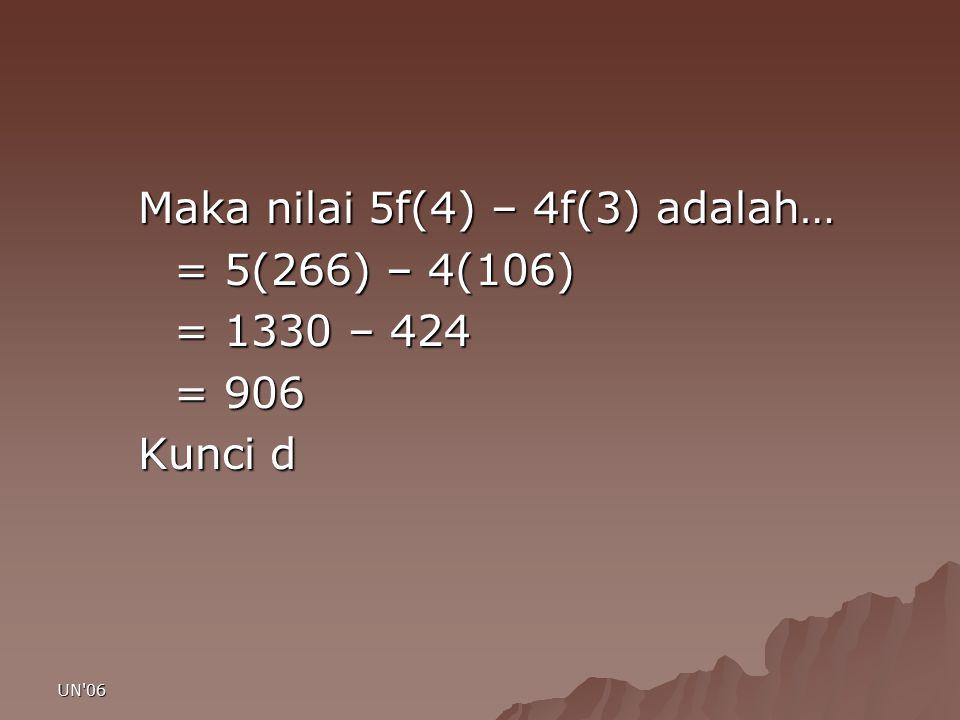 Maka nilai 5f(4) – 4f(3) adalah… = 5(266) – 4(106) = 1330 – 424 = 906
