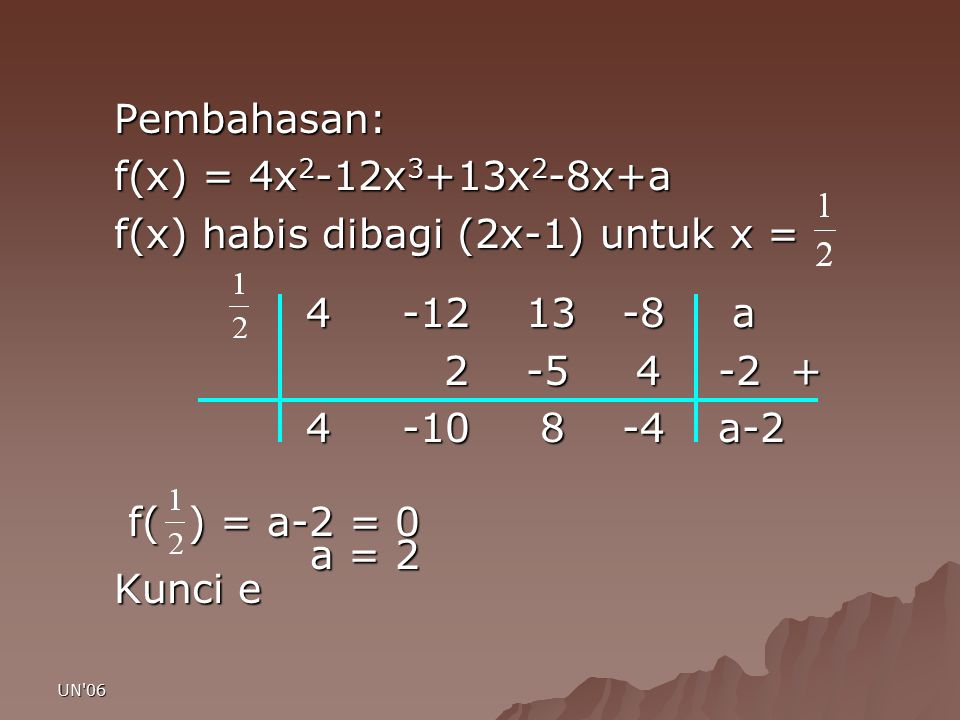f(x) habis dibagi (2x-1) untuk x = 4 -12 13 -8 a 2 -5 4 -2 +