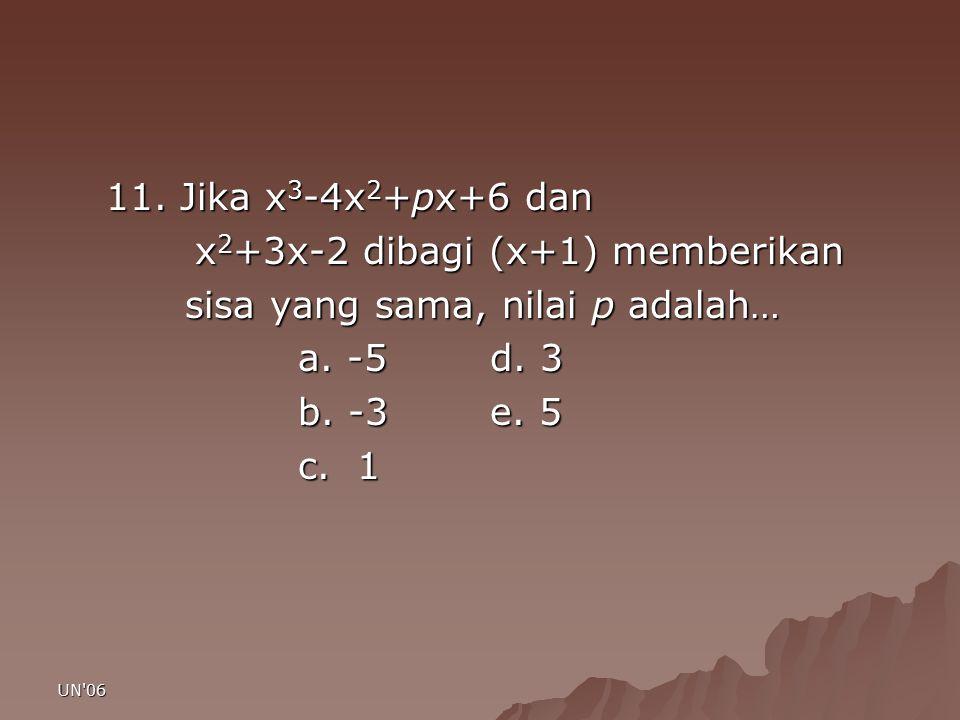 x2+3x-2 dibagi (x+1) memberikan sisa yang sama, nilai p adalah…