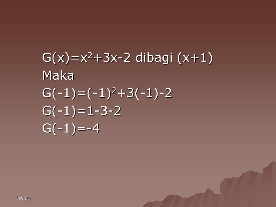 G(x)=x2+3x-2 dibagi (x+1) Maka G(-1)=(-1)2+3(-1)-2 G(-1)=1-3-2