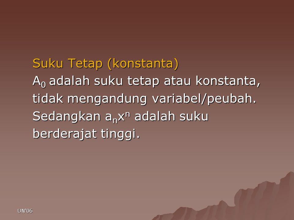 Suku Tetap (konstanta) A0 adalah suku tetap atau konstanta,