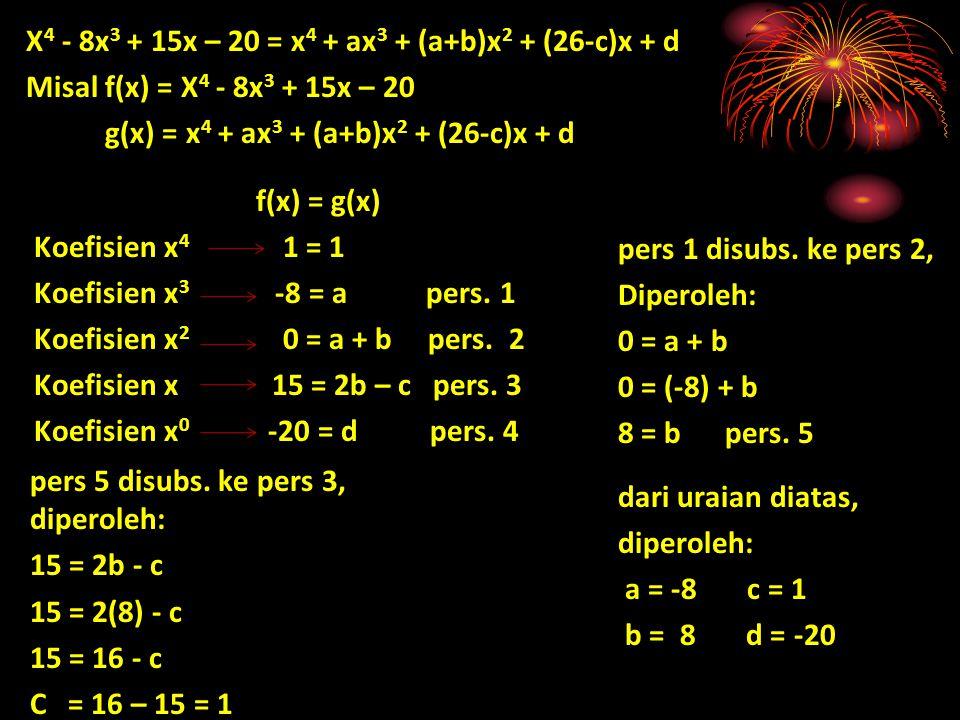 X4 - 8x3 + 15x – 20 = x4 + ax3 + (a+b)x2 + (26-c)x + d