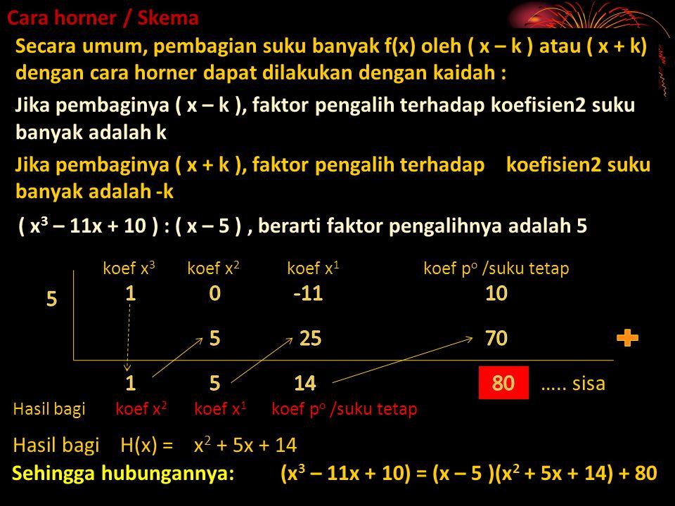 ( x3 – 11x + 10 ) : ( x – 5 ) , berarti faktor pengalihnya adalah 5