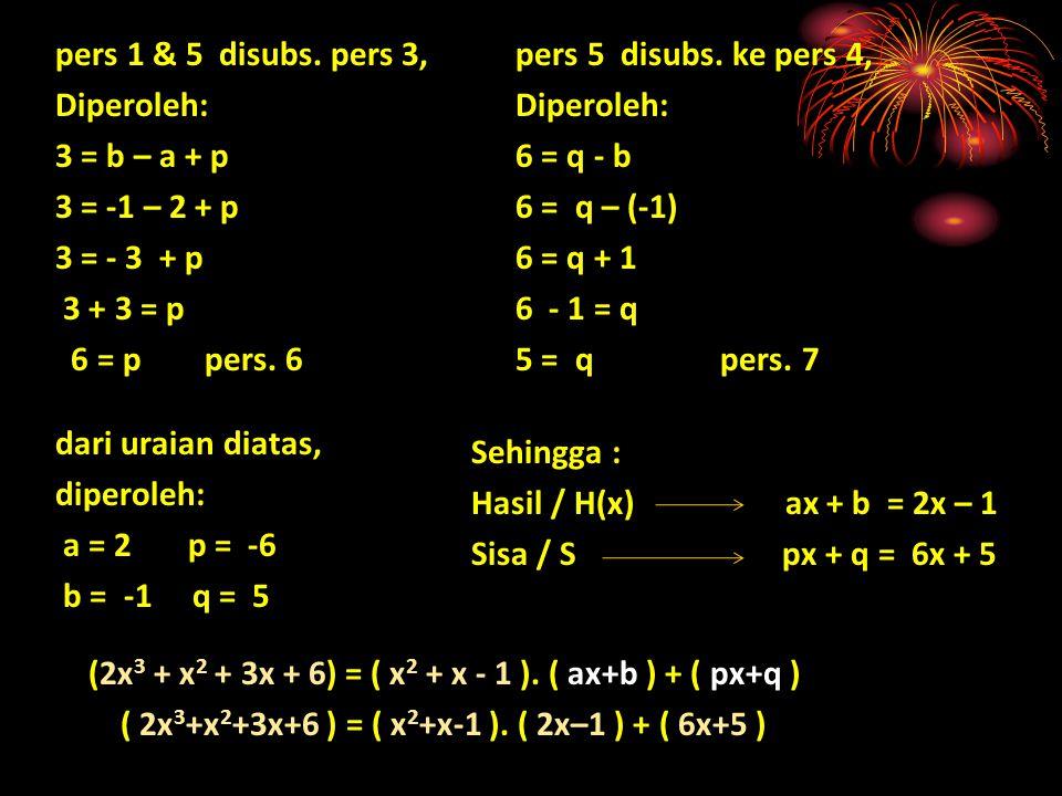 pers 1 & 5 disubs. pers 3, Diperoleh: 3 = b – a + p. 3 = -1 – 2 + p. 3 = - 3 + p. 3 + 3 = p. 6 = p pers. 6.