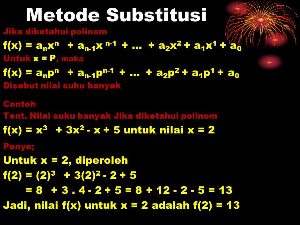Metode Substitusi f(x) = anxn + an-1x n-1 + … + a2x2 + a1x1 + a0