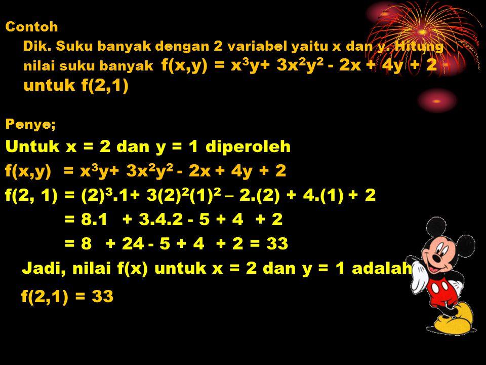 Untuk x = 2 dan y = 1 diperoleh f(x,y) = x3y+ 3x2y2 - 2x + 4y + 2