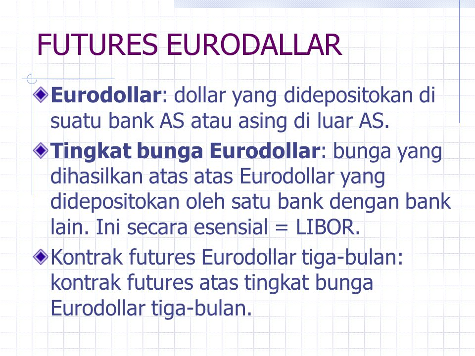 FUTURES EURODALLAR Eurodollar: dollar yang didepositokan di suatu bank AS atau asing di luar AS.