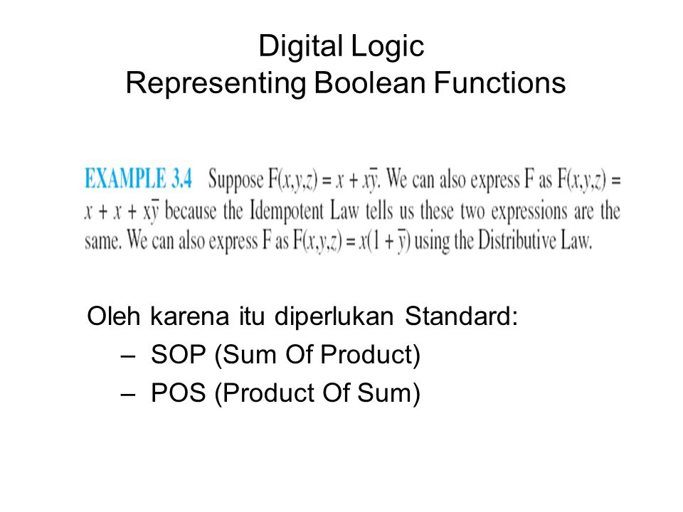 Digital Logic Representing Boolean Functions