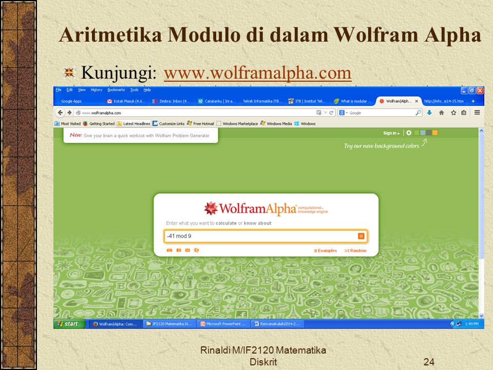 Aritmetika Modulo di dalam Wolfram Alpha