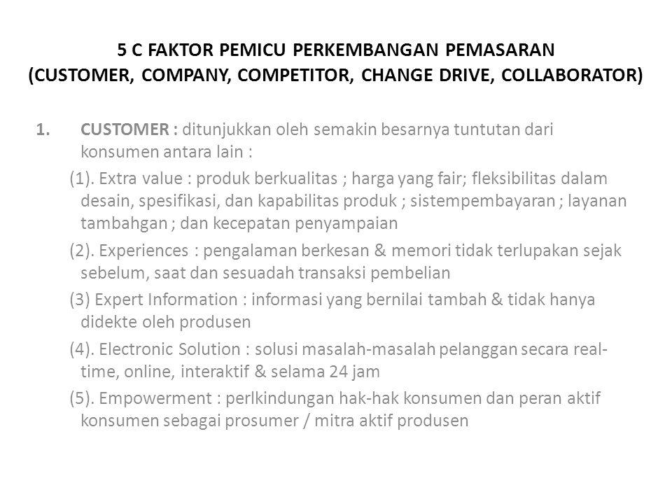 5 C FAKTOR PEMICU PERKEMBANGAN PEMASARAN (CUSTOMER, COMPANY, COMPETITOR, CHANGE DRIVE, COLLABORATOR)