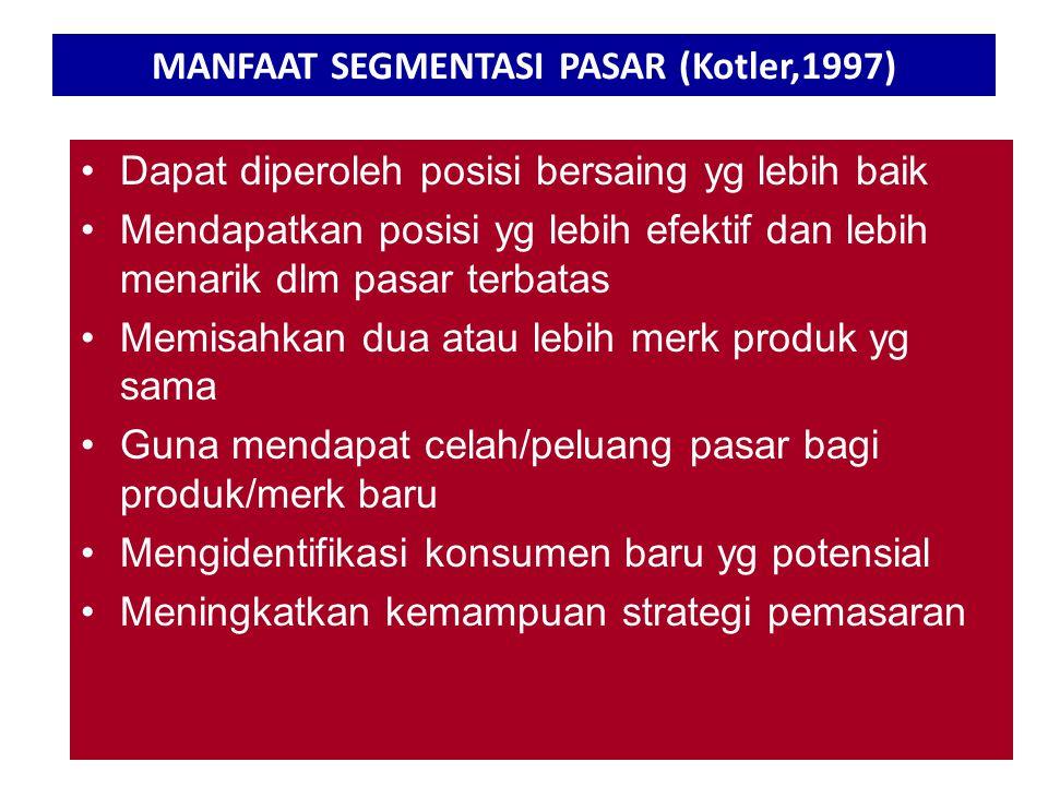 MANFAAT SEGMENTASI PASAR (Kotler,1997)