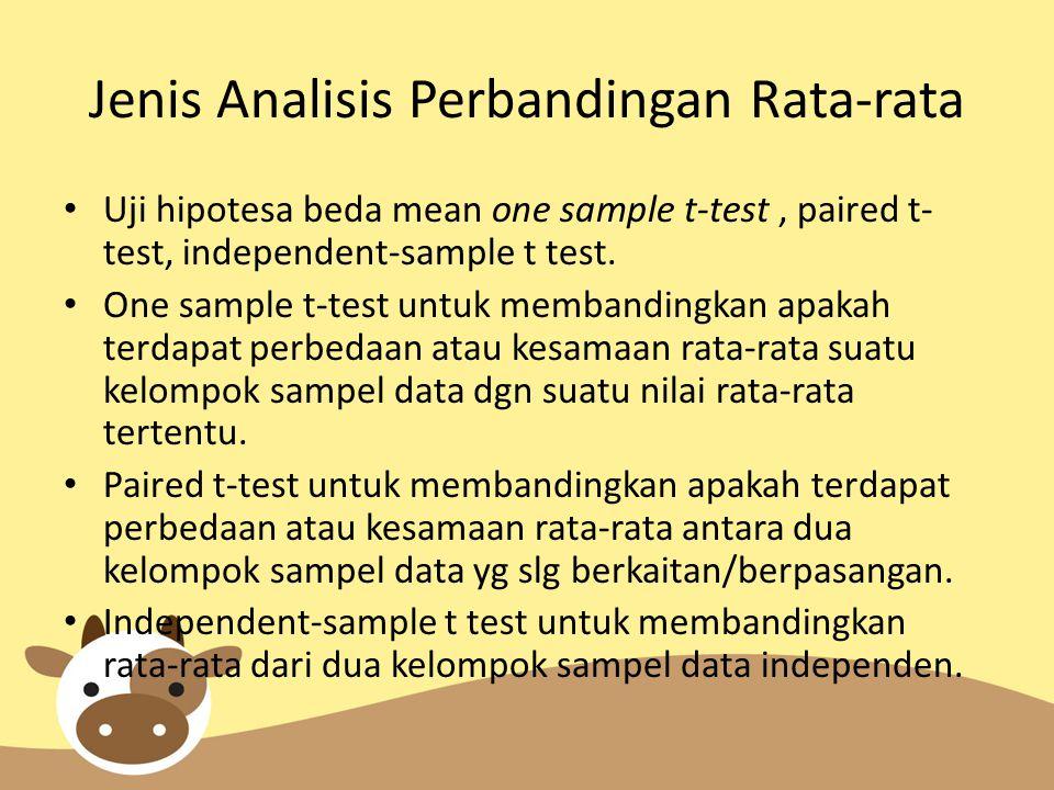 Jenis Analisis Perbandingan Rata-rata