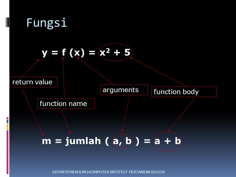 Fungsi y = f (x) = x2 + 5 m = jumlah ( a, b ) = a + b return value