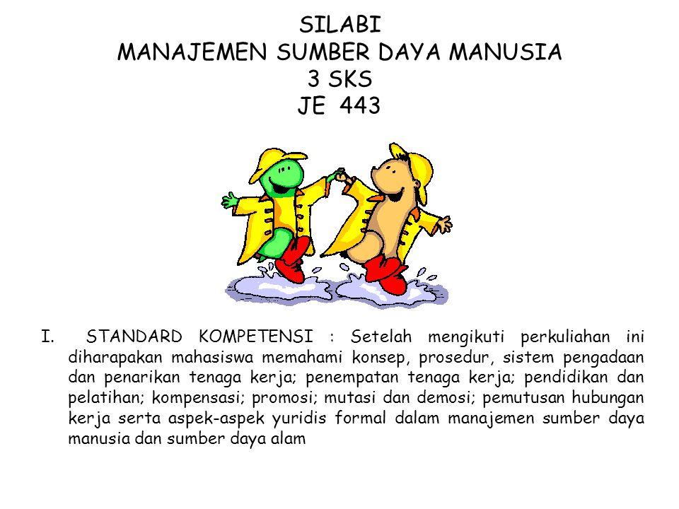 SILABI MANAJEMEN SUMBER DAYA MANUSIA 3 SKS JE 443