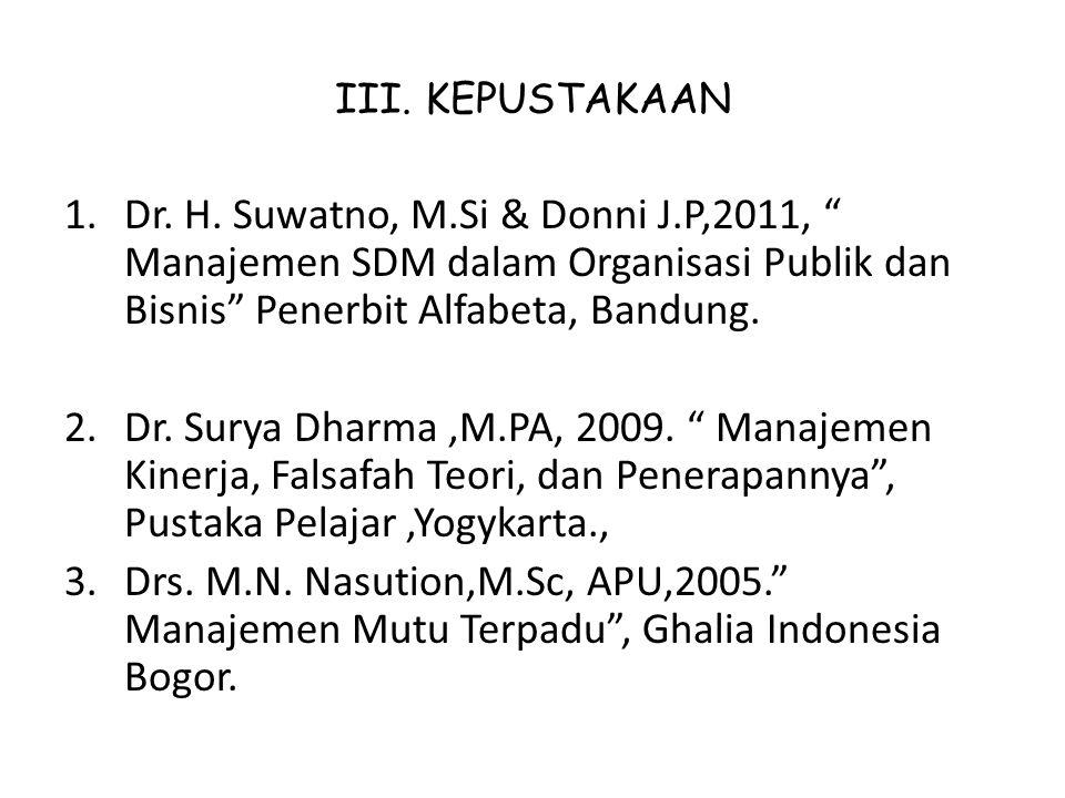 III. KEPUSTAKAAN Dr. H. Suwatno, M.Si & Donni J.P,2011, Manajemen SDM dalam Organisasi Publik dan Bisnis Penerbit Alfabeta, Bandung.
