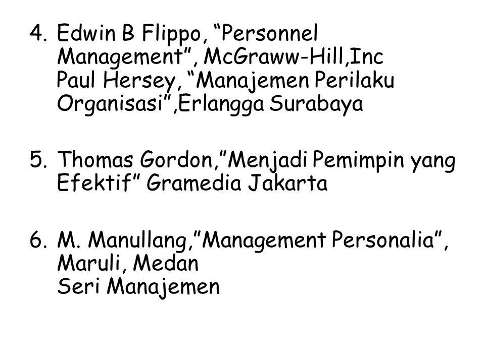 Edwin B Flippo, Personnel Management , McGraww-Hill,Inc Paul Hersey, Manajemen Perilaku Organisasi ,Erlangga Surabaya