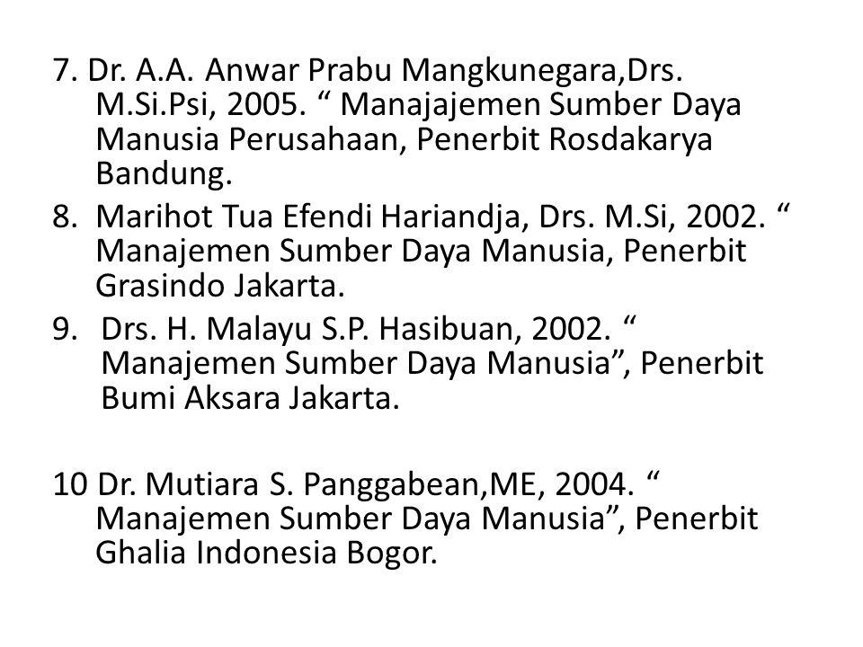 7. Dr. A. A. Anwar Prabu Mangkunegara,Drs. M. Si. Psi, 2005