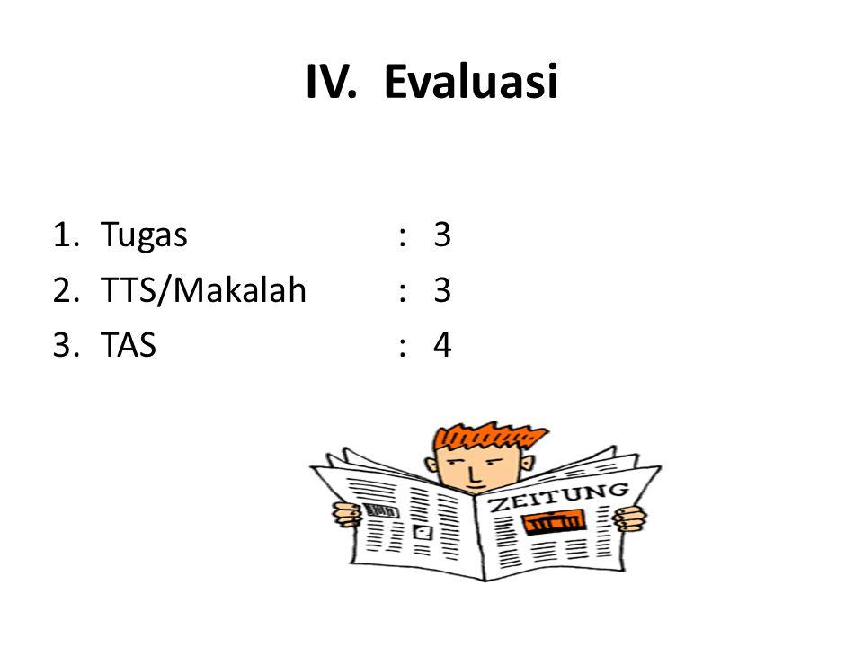 IV. Evaluasi Tugas : 3 TTS/Makalah : 3 TAS : 4