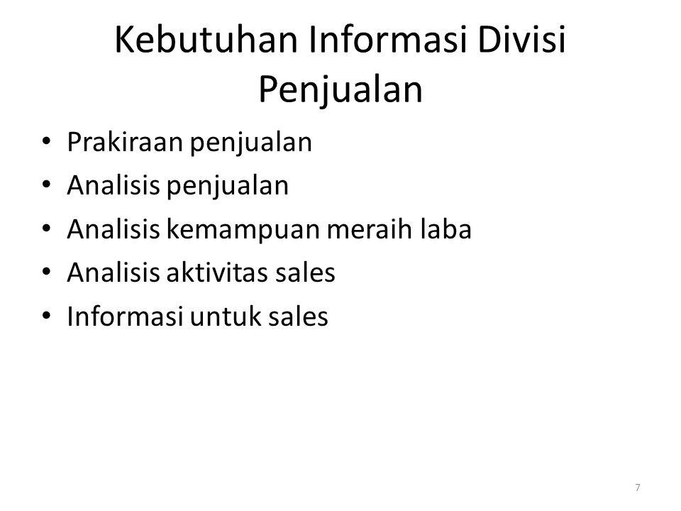 Kebutuhan Informasi Divisi Penjualan