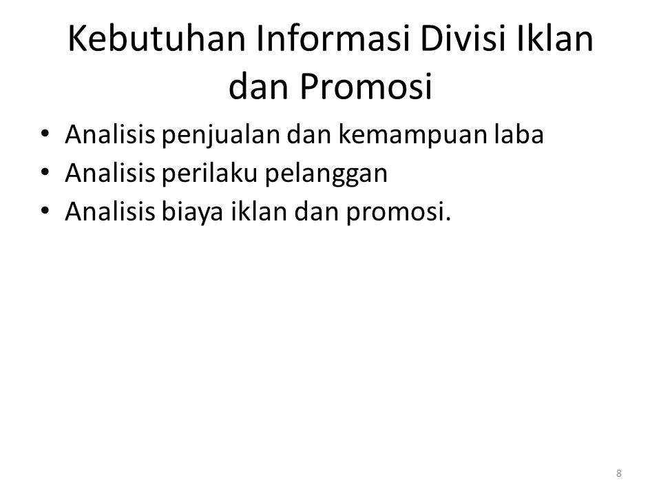 Kebutuhan Informasi Divisi Iklan dan Promosi